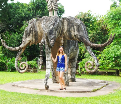 The first life-sized elephants I saw in Lao were made of stone