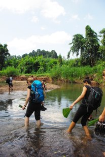we also had to cross some small streams (the guide made us fans out of palm leaves against the mosquitos and the heat)