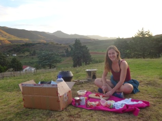Me preparing dinner (stove and Wonderbox in the background!)