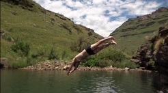 Jumping in a natural pool, so refreshing after our hike!