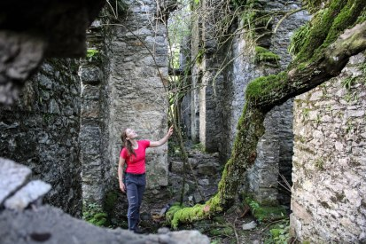 Exploring the old ruins of a church