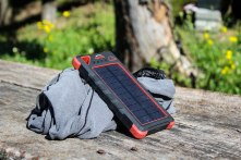 Recharging our solar powerbank - a review will follow soon.