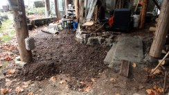 Before we could start laying bricks, we had to level the whole area. Backbreaking work!