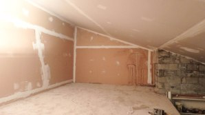 Drywall up, Taping done, next comes the mudding!