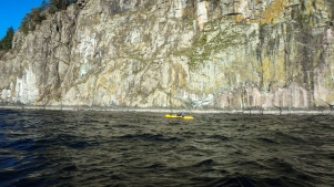 paddling past copper bluff, an impressive cliff