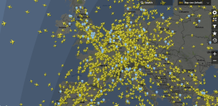 Planes above Europe, 20th April 2018