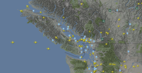 Planes above Vancouver Island, Canada, 20th April 2018