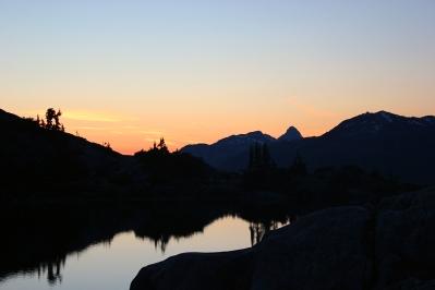 Sunset over Sandbag Lake.