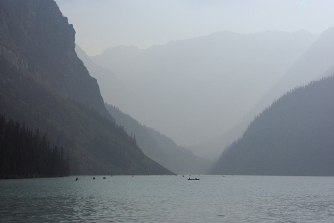 Lake Louise is one of Canada's top attractions. We didn't like it. It was smoky as hell that day (it's not a black&white picture!!) and...